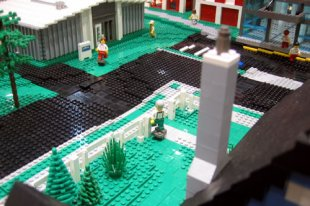 Town with moving LEGO people