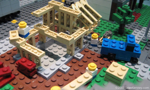 A LEGO house is built deep within the model.