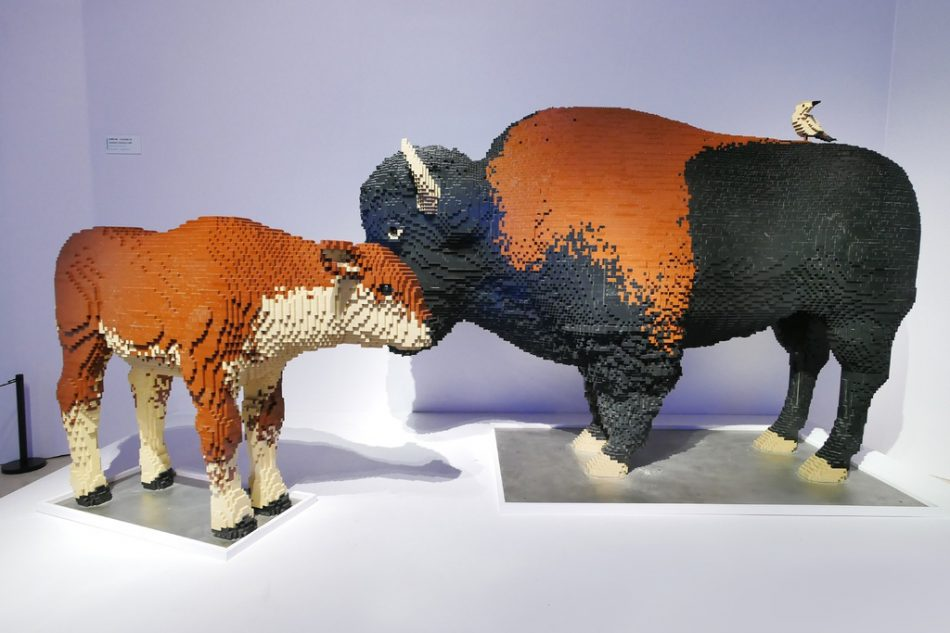 Mother-and-baby-bison LEGO art by Sean Kenney