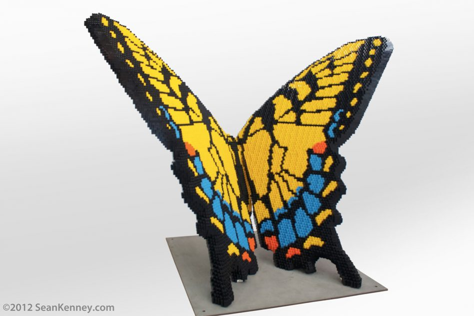 Tiger-swallowtail-butterfly LEGO art by Sean Kenney