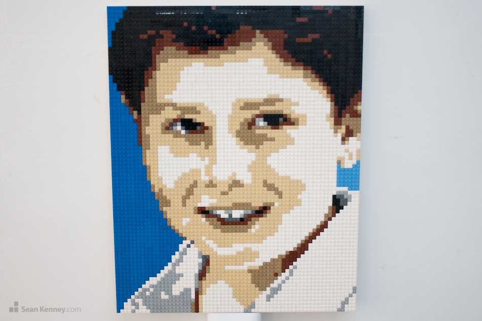 Boy-with-dark-hair LEGO art by Sean Kenney