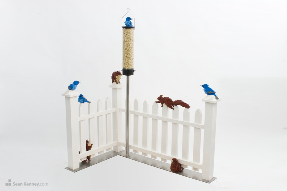 Birds-vs-squirrels LEGO art by Sean Kenney