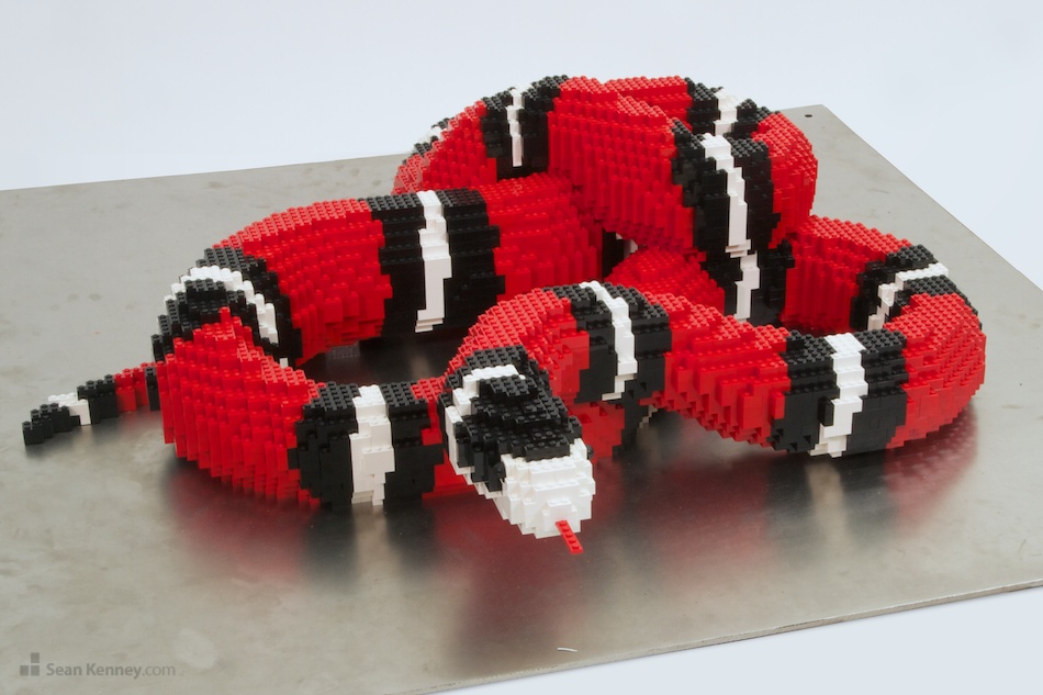 Milk-snake LEGO art by Sean Kenney