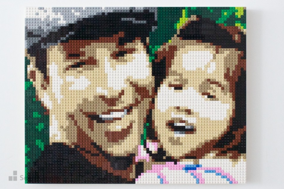 A-girl-her-dad-and-his-hat LEGO art by Sean Kenney