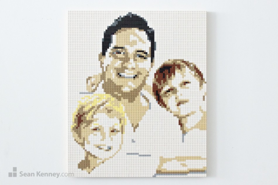 Whitespacey-family-portrait LEGO art by Sean Kenney