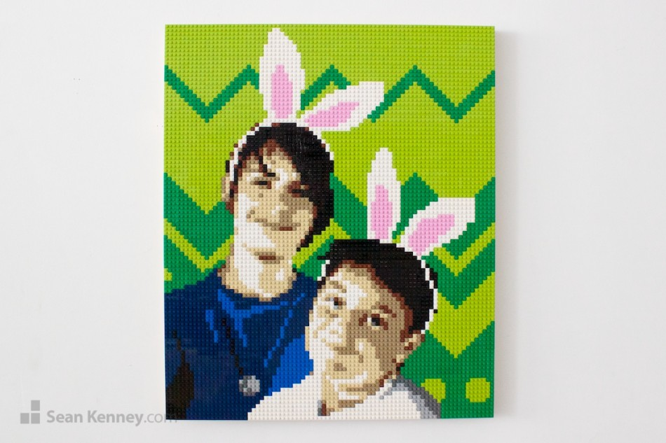 Bunny-boys LEGO art by Sean Kenney