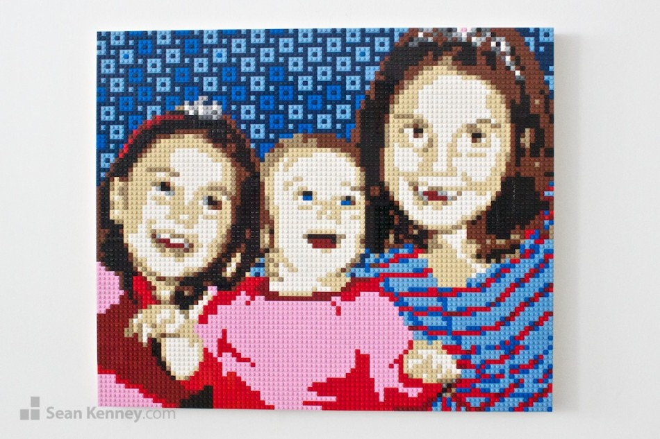 Three-silly-girls LEGO art by Sean Kenney