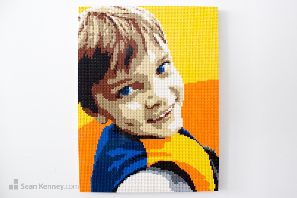 Boy-with-vest LEGO art by Sean Kenney