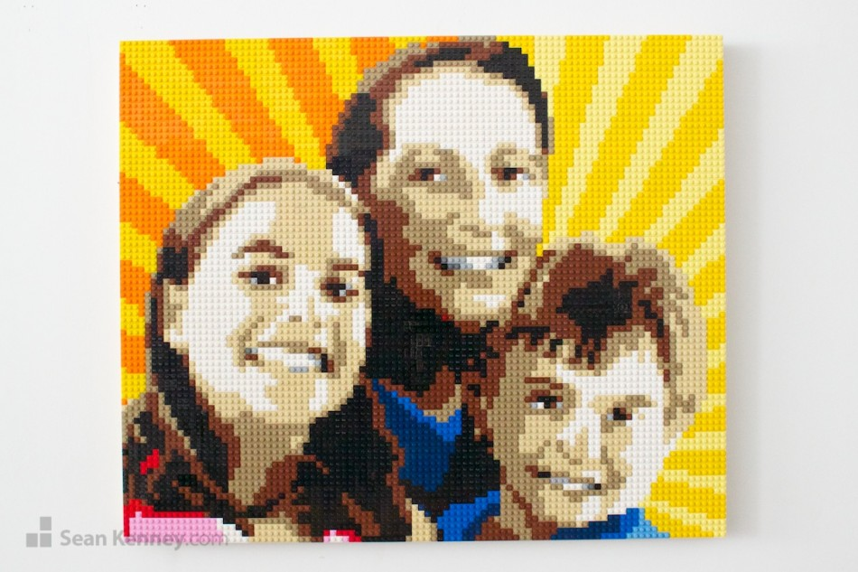 Yellow-family LEGO art by Sean Kenney