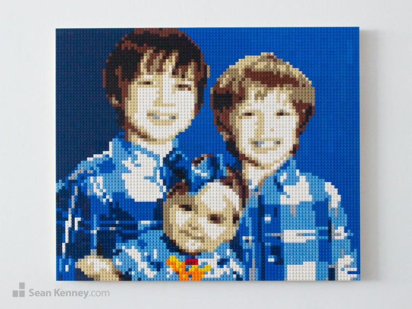 Blue-family LEGO art by Sean Kenney