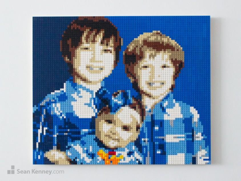 Blue-family LEGO art by Sean Kenney