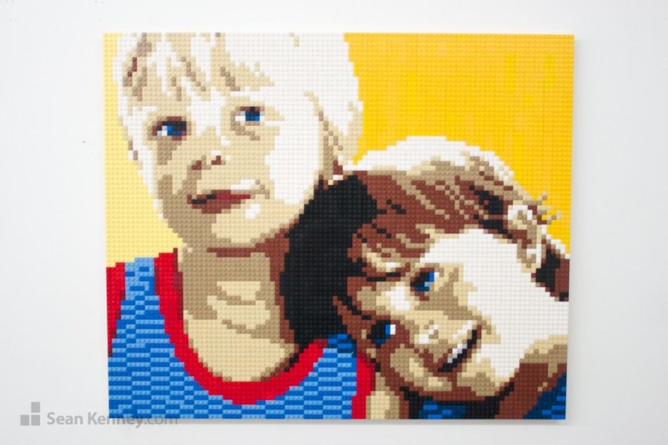 Celebrity kids LEGO art by Sean Kenney