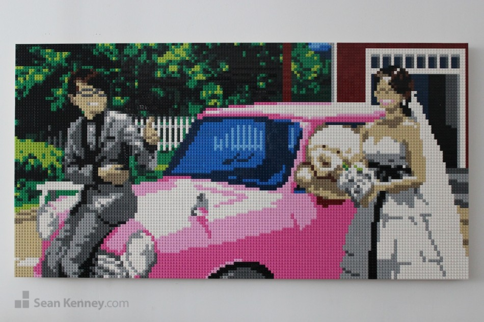 Pink-car-wedding-portrait LEGO art by Sean Kenney