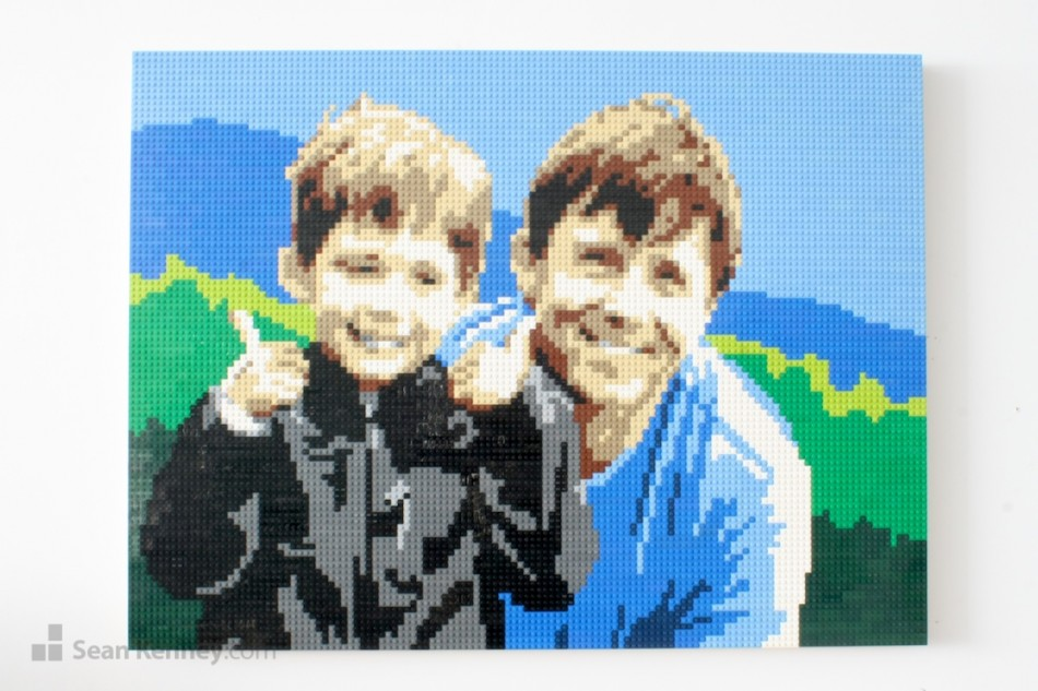 Thumbs-up-for-dad LEGO art by Sean Kenney