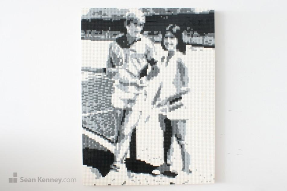 Vintage-tennis-portrait LEGO art by Sean Kenney