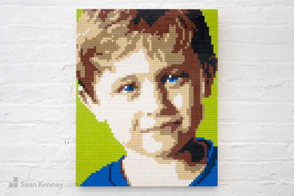 Blue-eyed-boy LEGO art by Sean Kenney