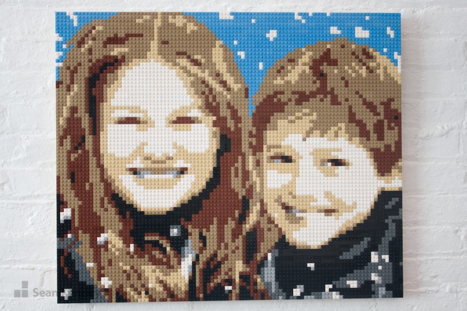 Snow-kids LEGO art by Sean Kenney