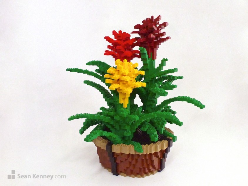 Guzmania-bromeliad LEGO art by Sean Kenney