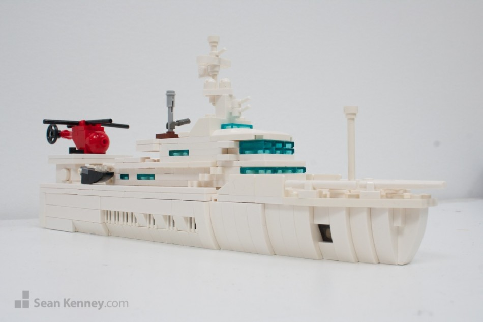 Senses-yacht LEGO art by Sean Kenney