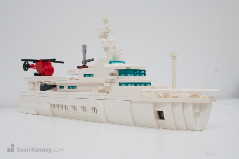 Senses-yacht LEGO art by Sean Kenney