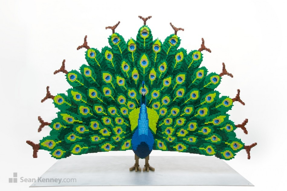 Peacock LEGO art by Sean Kenney