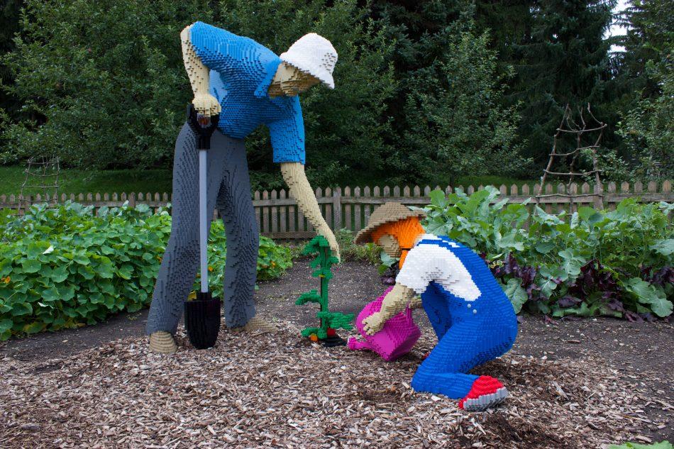 Gardening-grandpa LEGO art by Sean Kenney