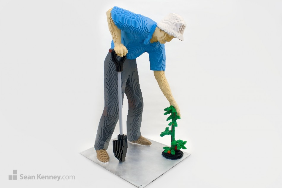 Gardening-grandpa LEGO art by Sean Kenney