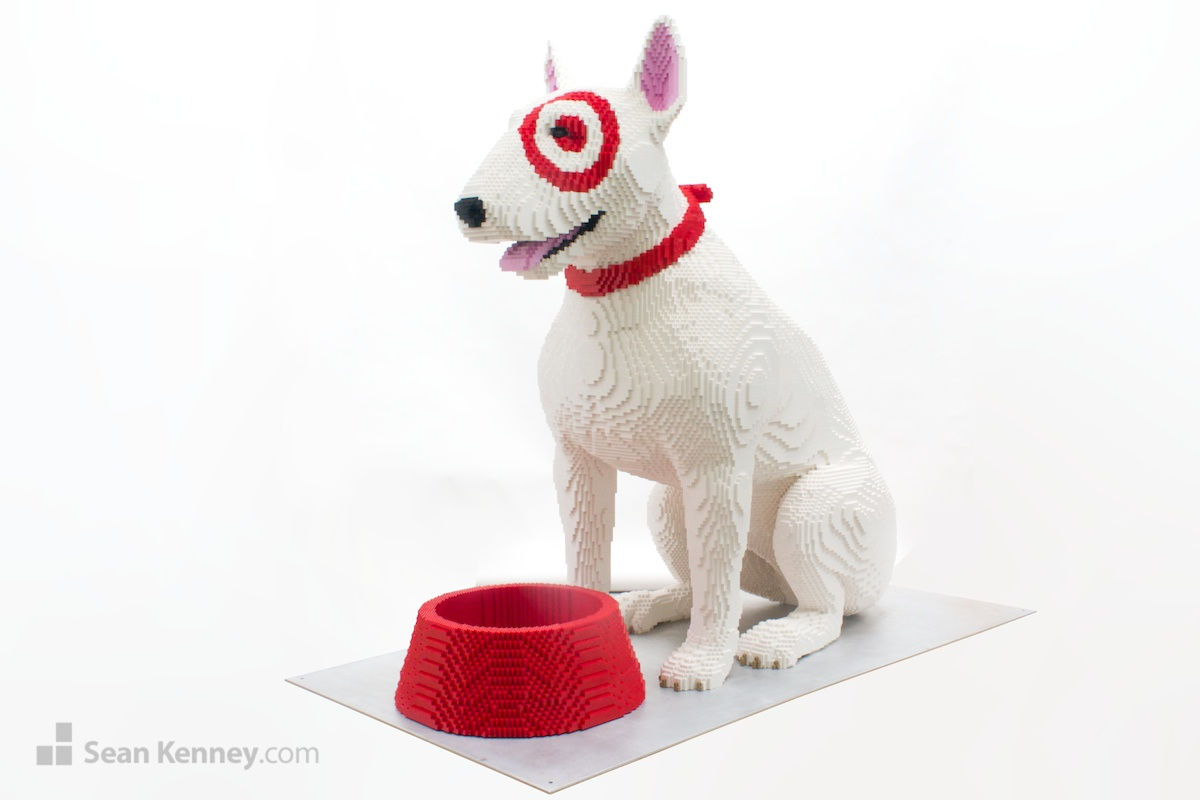 Sean kenney art with lego bricks bullseye the target dog What kind of dog is the target mascot
