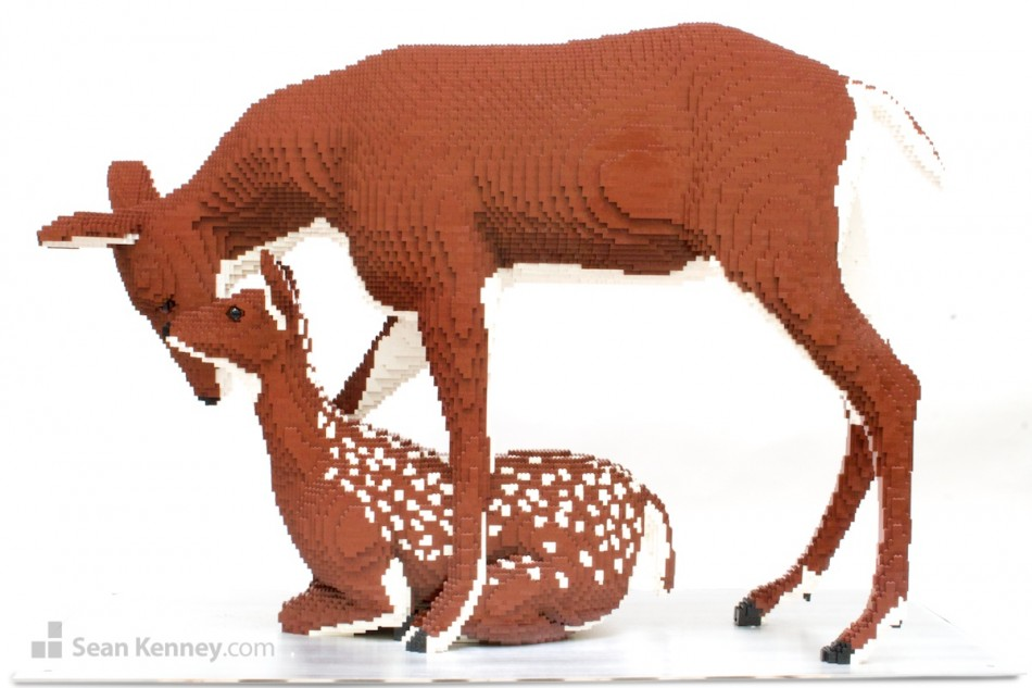 Fawn-and-doe LEGO art by Sean Kenney