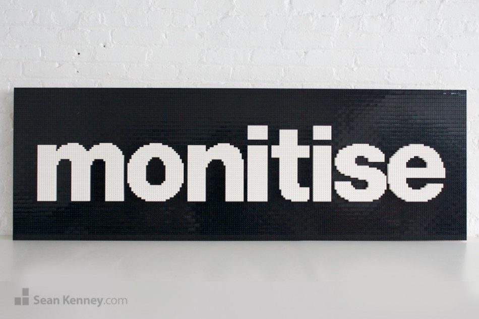 Monitise-logo LEGO art by Sean Kenney