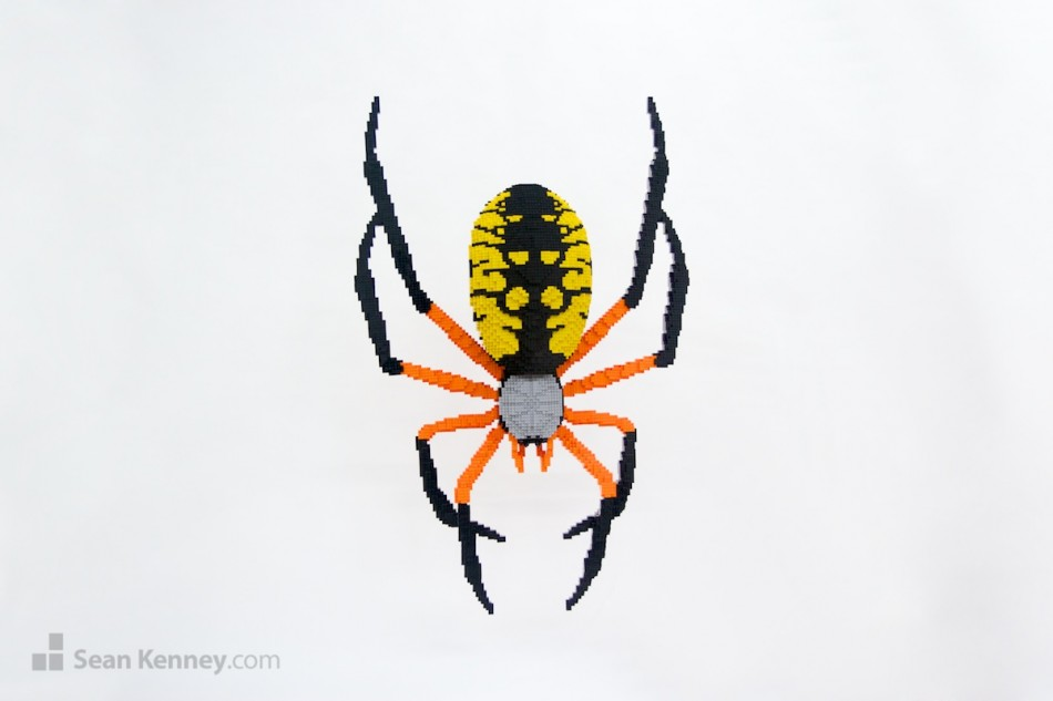 Corn-spider LEGO art by Sean Kenney