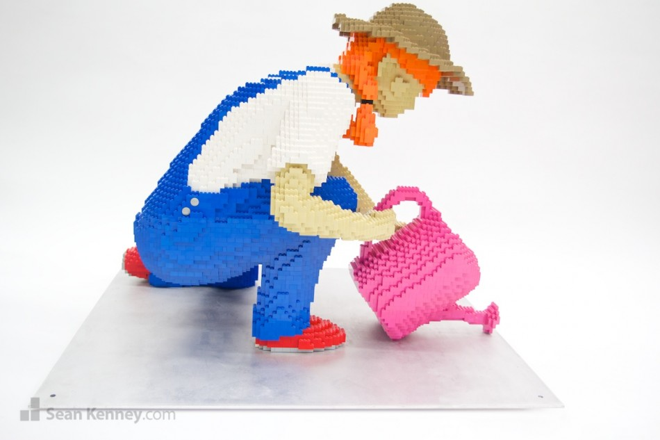 Gardening-granddaughter LEGO art by Sean Kenney