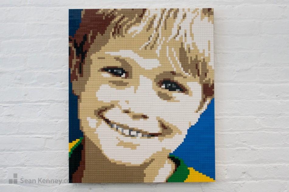 Happy-boy LEGO art by Sean Kenney