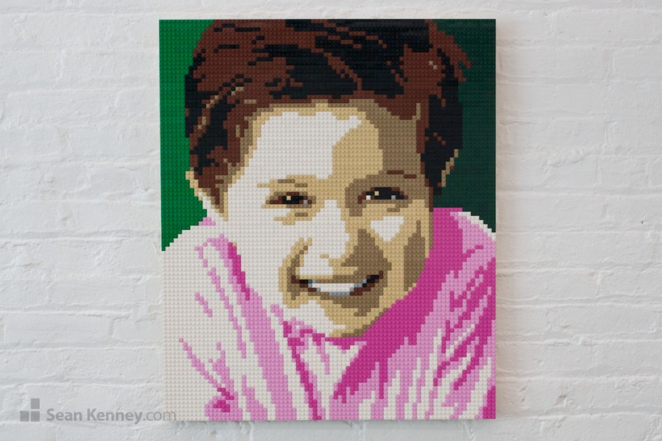 Pink-shirt-boy LEGO art by Sean Kenney