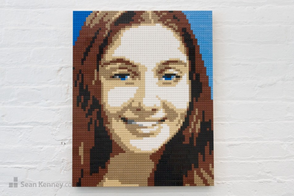 Blue-eyed-girl LEGO art by Sean Kenney