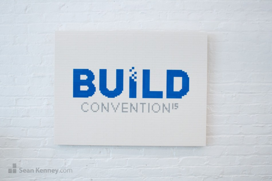 Build-logo LEGO art by Sean Kenney