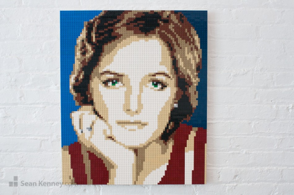 Lady-in-red LEGO art by Sean Kenney