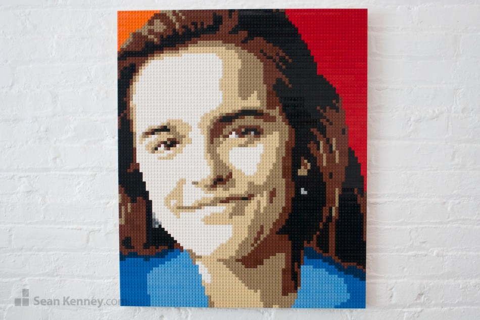 Brown-eyed-girl LEGO art by Sean Kenney