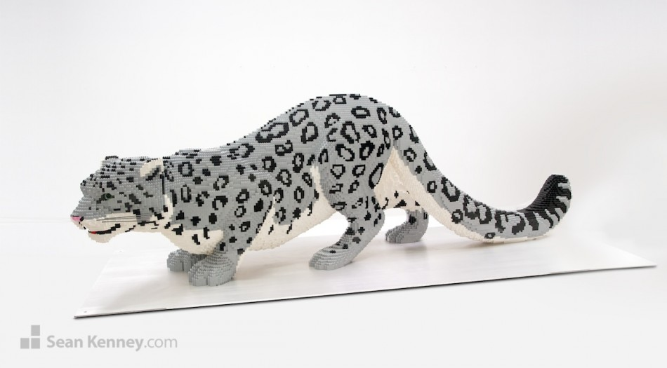 Snow-leopard LEGO art by Sean Kenney