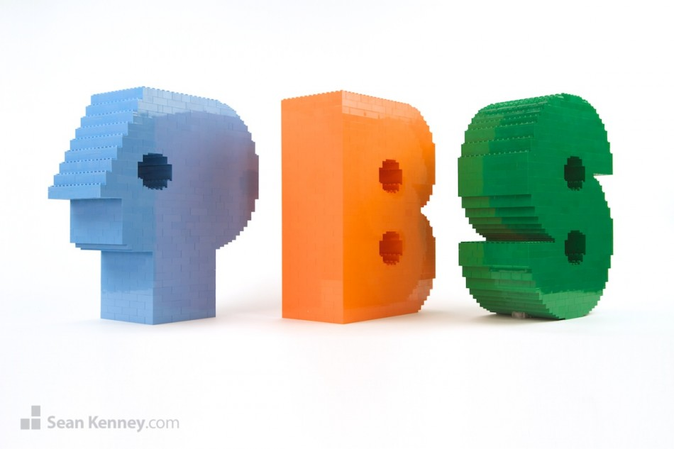 Retro-pbs-logo LEGO art by Sean Kenney
