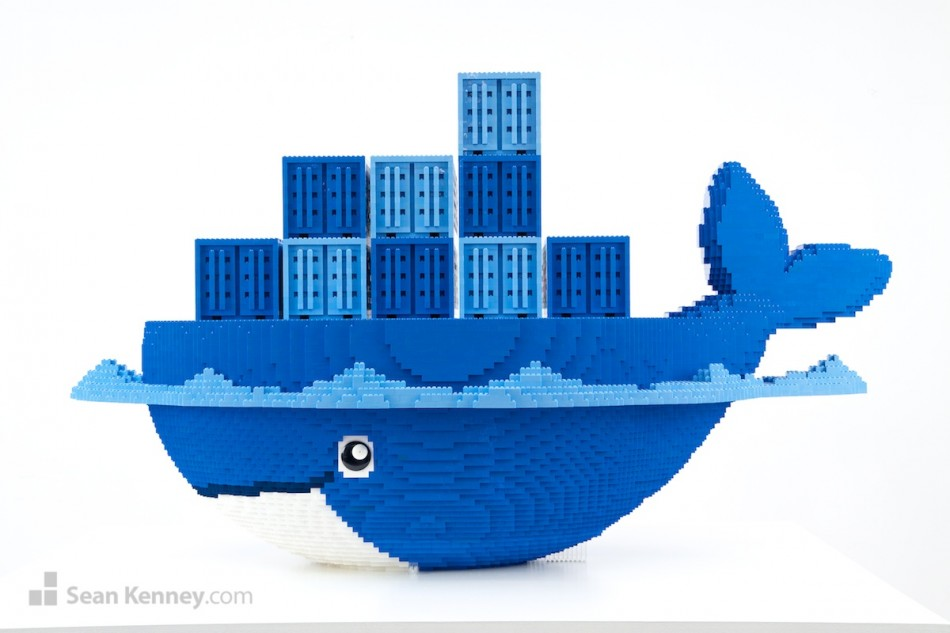 Docker-logo LEGO art by Sean Kenney