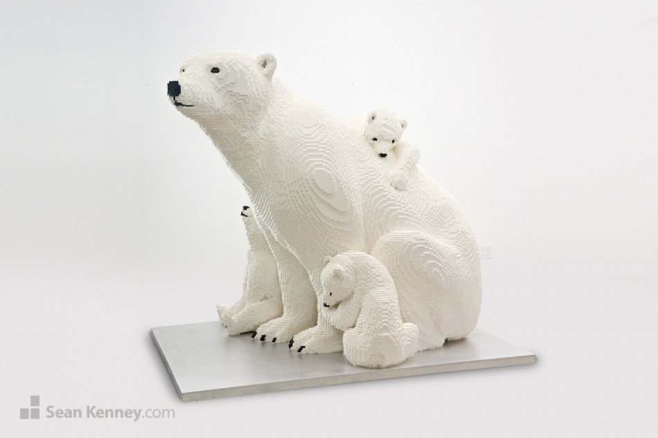 Polar-bear-mother-and-cubs LEGO art by Sean Kenney