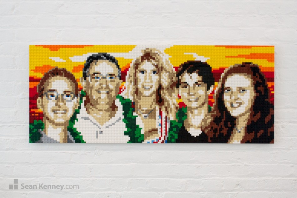 Sunset-family LEGO art by Sean Kenney