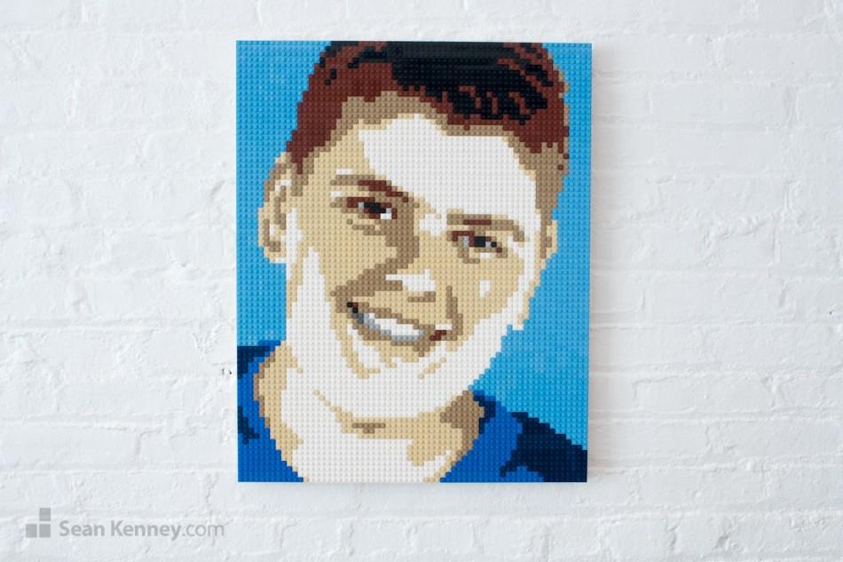 Blue-boy LEGO art by Sean Kenney