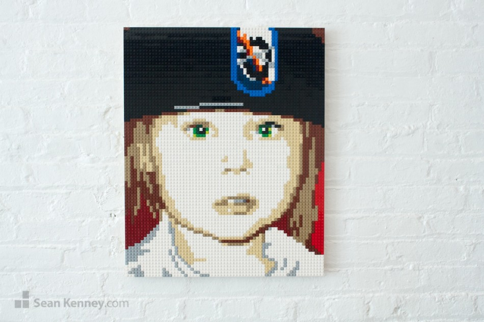 Girl-in-a-beret LEGO art by Sean Kenney