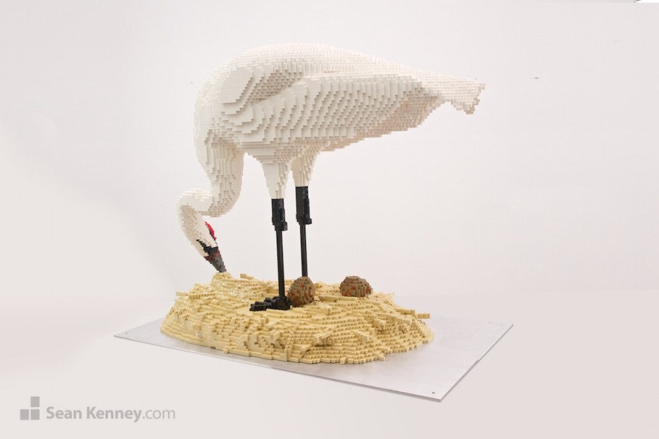 Whooping-crane LEGO art by Sean Kenney