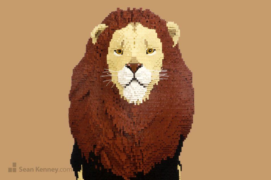 Lion LEGO art by Sean Kenney