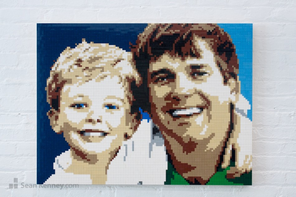 Dad-and-son LEGO art by Sean Kenney
