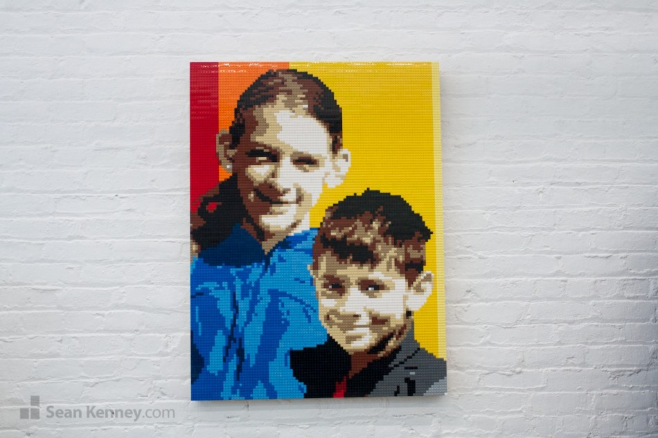 Big-sister-and-little-brother LEGO art by Sean Kenney