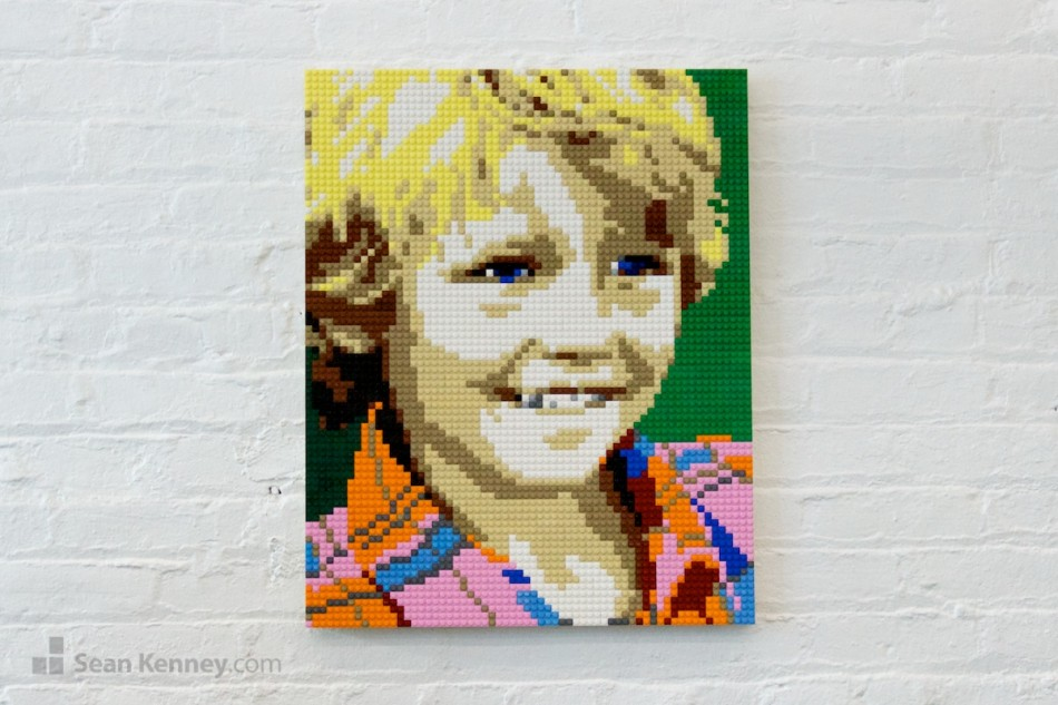 Plaid-shirt-boy LEGO art by Sean Kenney